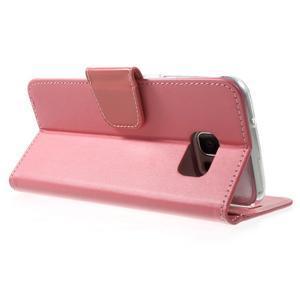 Rich PU kožené pouzdro na Samsung Galaxy S7 edge - růžové - 4