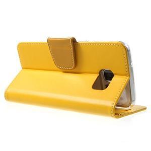 Rich PU kožené pouzdro na Samsung Galaxy S7 edge - žluté - 4