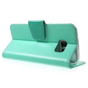 Rich PU kožené pouzdro na Samsung Galaxy S7 edge - azurové - 4
