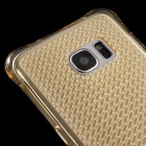 Glitter gelový obal na Samsung Galaxy S7 edge - zlatý - 4