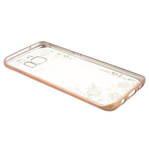 Nice gelový obal s kamínky na Samsung Galaxy S7 edge - bílé květiny - 4