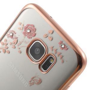Nice gelový obal s kamínky na Samsung Galaxy S7 edge - růžové květiny - 4