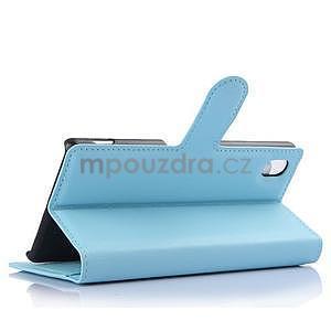 Světle modré PU kožené pouzdro na Sony Xperia M4 Aqua - 4