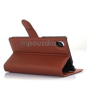 Hnědé PU kožené pouzdro na Sony Xperia M4 Aqua - 4