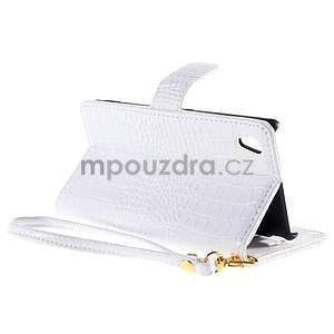 Bílé PU kožené pouzdro aligátor pro Sony Xperia M4 Aqua - 4