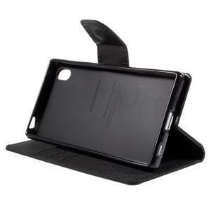 Canvas PU kožené/textilní pouzdro na Sony Xperia Z5 - černé - 4