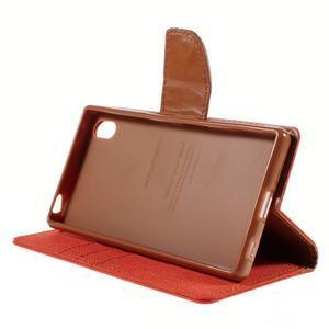 Canvas PU kožené/textilní pouzdro na Sony Xperia Z5 - oranžové - 4