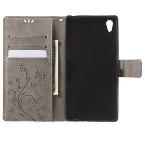 Butterfly PU kožené pouzdro na Sony Xperia Z5 - šedé - 4
