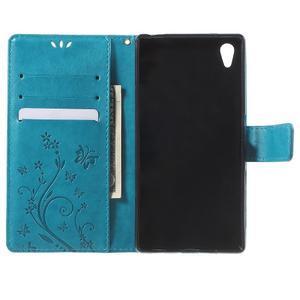 Butterfly PU kožené pouzdro na Sony Xperia Z5 - modré - 4