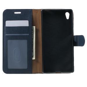 Grid PU kožené pouzdro na Sony Xperia Z5 - tmavěmodré - 4