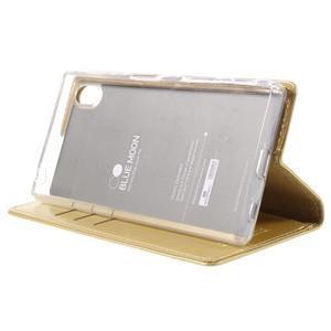 Moon PU kožené puzdro pre Sony Xperia Z5 - zlaté - 4