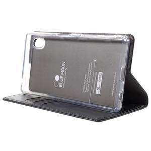 Moon PU kožené pouzdro na Sony Xperia Z5 - tmavěmodré - 4