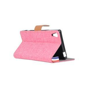 Cloth textilní/koženkové pouzdro na Sony Xperia Z5 - růžové - 4