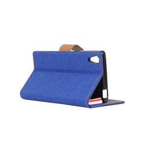 Cloth textilní/koženkové pouzdro na Sony Xperia Z5 - tmavěmodré - 4