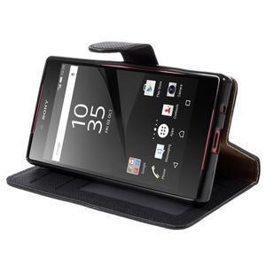 Grid peněženkové pouzdro na mobil Sony Xperia Z5 Compact - černé - 4