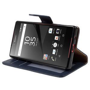 Grid peněženkové pouzdro na mobil Sony Xperia Z5 Compact - tmavěmodré - 4