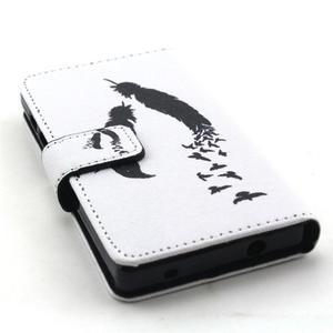 Peněženkové pouzdro na mobil Sony Xperia Z5 Compact - ptačí peříčka - 4