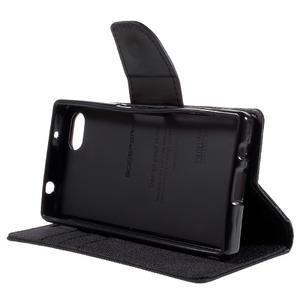 Canvas PU kožené/textilní pouzdro na Sony Xperia Z5 Compact - černé - 4