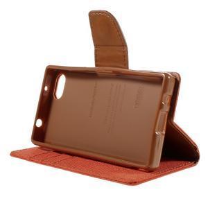 Canvas PU kožené/textilní pouzdro na Sony Xperia Z5 Compact - oranžové - 4