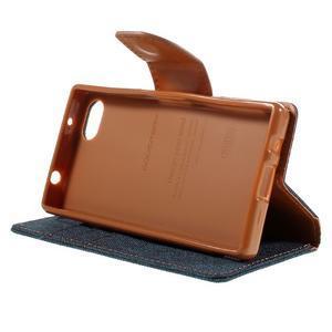 Canvas PU kožené/textilní pouzdro na Sony Xperia Z5 Compact - tmavěmodré - 4