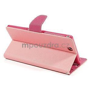Peněženkové PU kožené pouzdro na Sony Z Ultra - růžové - 4