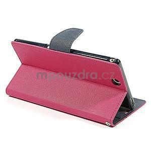 Peněženkové PU kožené pouzdro na Sony Z Ultra - rose - 4