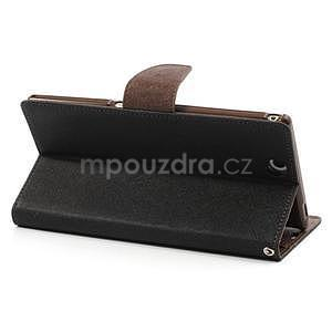 Peněženkové PU kožené pouzdro na Sony Z Ultra - černé/hnědé - 4