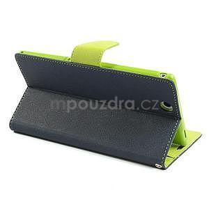 Peněženkové PU kožené pouzdro na Sony Z Ultra - tmavě modré - 4