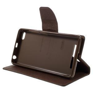 Diary PU kožené pouzdro na mobil Xiaomi Redmi 3 - černé/hnědé - 4