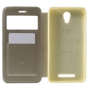 View PU kožené pouzdro s okýnkem na Xiaomi Redmi Note 2 - zlaté - 4