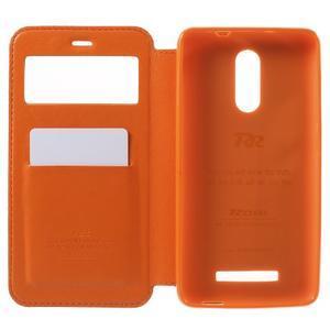 PU kožené pouzdro s okýnkem na Xiaomi Redmi Note 3 - oranžové - 4