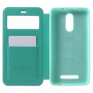 PU kožené pouzdro s okýnkem na Xiaomi Redmi Note 3 - azurové - 4