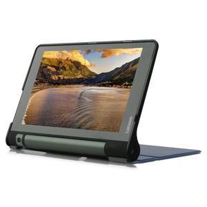 Polohovatelnotelné PU kožené pouzdro na Lenovo Yoga Tab 3 8.0 - tmavěmodré - 4