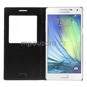 PU kožené pouzdro s okýnkem na Samsung Galaxy A5 - černé - 4