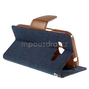 Stylové textilní/PU kožené pouzdro na Samsung Galaxy Core Prime - modré - 4
