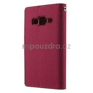 Stylové textilní/PU kožené pouzdro na Samsung Galaxy Core Prime - červené - 4
