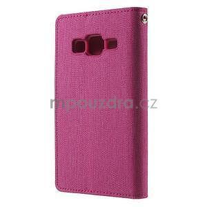 Stylové textilní/PU kožené pouzdro na Samsung Galaxy Core Prime - růžové - 4