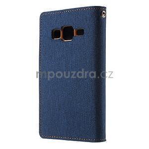 Stylové textilní/PU kožené pouzdro na Samsung Galaxy Core Prime - jeans - 4