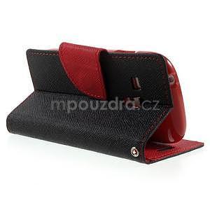 Diary peněženkové pouzdro na mobil Samsung Galaxy S3 mini - černé/červené - 4