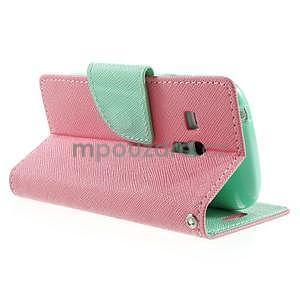 Diary peněženkové pouzdro na mobil Samsung Galaxy S3 mini - růžové/azurové - 4