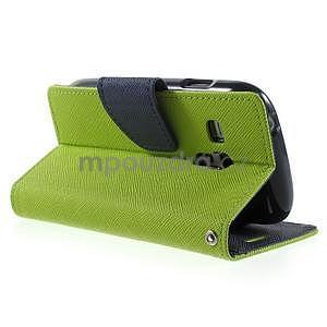 Diary peněženkové pouzdro na mobil Samsung Galaxy S3 mini - zelené/tmavěmodré - 4
