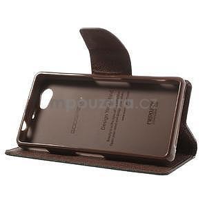 Fancy peněženkové pouzdro na Sony Xperia Z1 Compact - černé/hnědé - 4