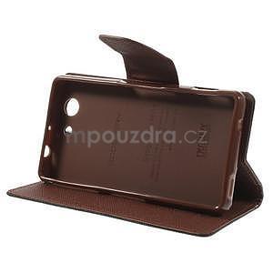 Diary peněženkové pouzdro na mobil Sony Xperia Z3 Compact - černé/hnědé - 4