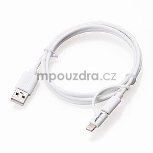 MFi propojovací kabel 8 pin pro zařízení Apple a micro USB 2v1 - 1 metr - bílý - 4