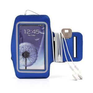 Sportovní pouzdro na ruku až do velikosti mobilu 140 x 70 mm - modré - 4