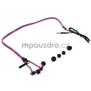 Dvoubarevná zipová sluchátka do uší, fialová / rose - 4