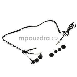 Dvoubarevná zipová sluchátka do uší, bílá / černá - 4