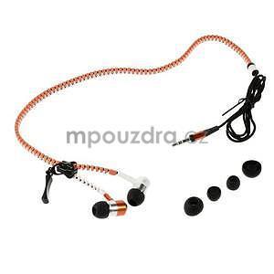 Dvoubarevná zipová sluchátka do uší, oranžová / bílá - 4