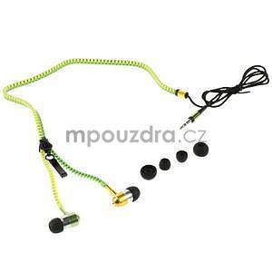 Dvoubarevná zipová sluchátka do uší, zelená / žlutá - 4