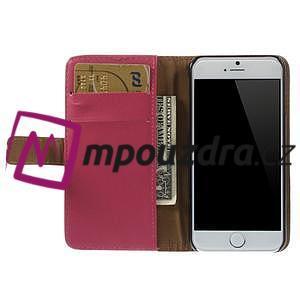 Peněženkové PU kožené pouzdro na iPhone 6, 4.7 - růžové - 5